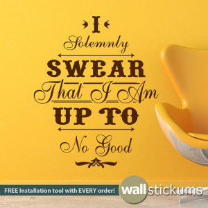 ... Wall Decal Up To No Good Western Style Vinyl Wall Quote for Kids or