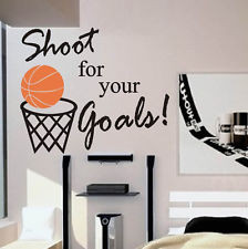 ... Lettering Decal Words Sports Quote Basketball Shoot for Your Goals
