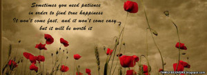 Sometimes you need patience - Life Quotes FB Cover