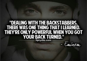 Dealing with the backstabber....
