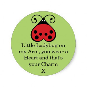 Little Ladybug Charming Heart Round Stickers Green