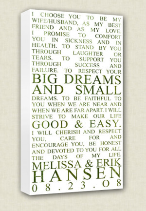 Wedding Vows Art Canvas Wall Quotes Art Keepsake Words, Vows,12x24