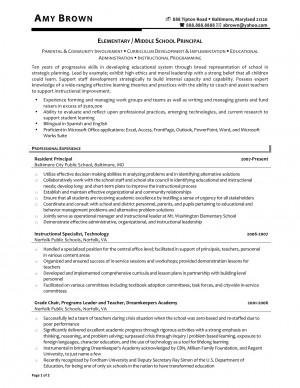Elementary School Principal Resume