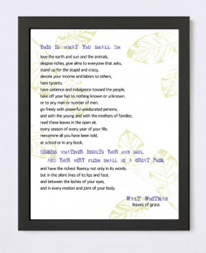 Walt Whitman Quote - Leaves of Grass Inspirational Giclee Print