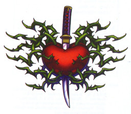 Knife in red heart with green thorns. Temporary tattoo. Hearts. Sheet ...