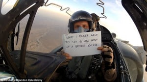 Special bond: The pilot noted that what he is really trying to say is ...