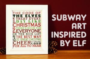 Free Printable Subway Art | Christmas Subway Art Inspired by ELF