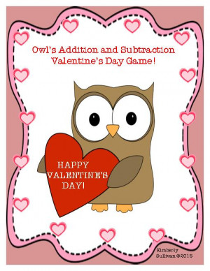 Free Valentine's Day Math Game! Addition + Subtraction Facts!