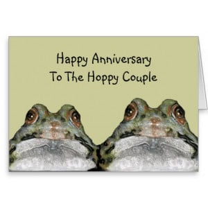 Frogs, Hoppy Couple: Happy Anniversary: Art Card