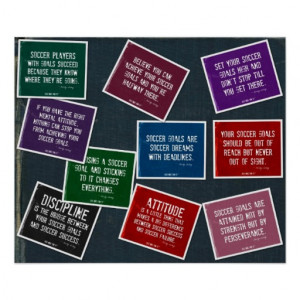 Soccer Quotes 10 Poster Collage in Colors on Denim