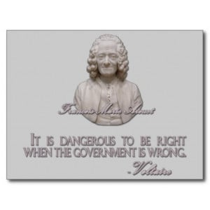 Voltaire Quote on Wrong Government Post Cards