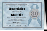 Employment Anniversary 30 Years Funny Customizable Certificate card ...