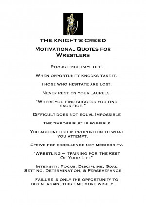 THE KNIGHT'S CREED Motivational Quotes for Wrestlers by morgossi7a1