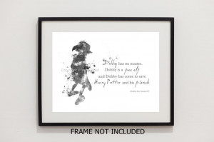 ... Dobby the House Elf Quote, Harry Potter illustration 10 x 8