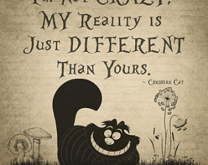 ... Cheshire Cat Quote Print #9, Wall Decor, Typography, Quote Print, Gift