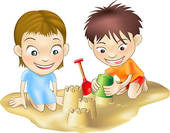 two children playing in the sand - stock illustration