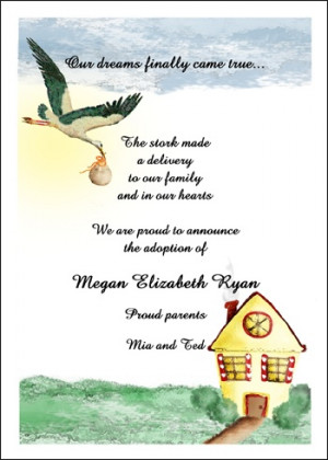 Stork Adoption Card for Announcing areBecoming Very Popular!