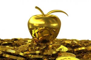 Golden Apple on the golden dollar coins. 3D rendering