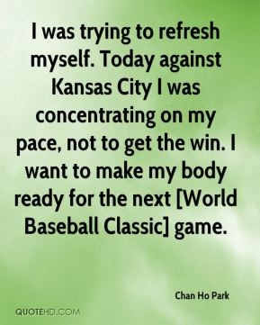 Chan Ho Park - I was trying to refresh myself. Today against Kansas ...