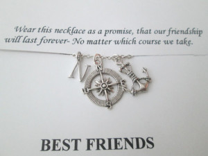 Friendship Quote Card- with Anchor and Open Compass, Initial Necklace