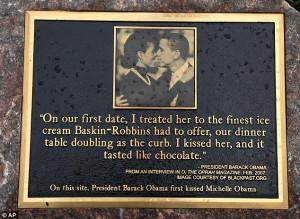 "President Barack Obama & First Lady Receive Kissing Plaque ""I kissed ..."