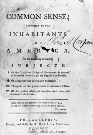 Title Page to Common Sense by Thomas Paine, 1776