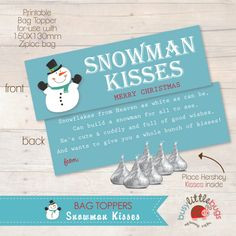 SNOWMAN KISSES: this would be cute to give everyone as a gift from the ...