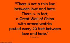 ... feet between love and hate.