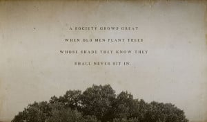 ... when old men plant trees whose shade they know they shall never sit in