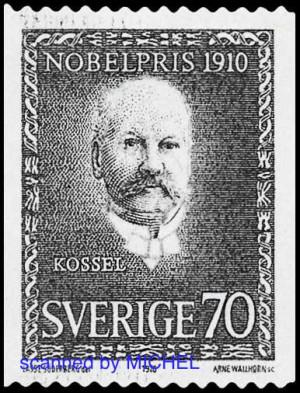 Albrecht Kossel auf Briefmarke Schweden 1970