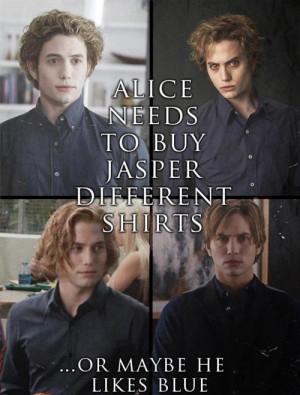 Twilight Series Jasper's shirts funny :)