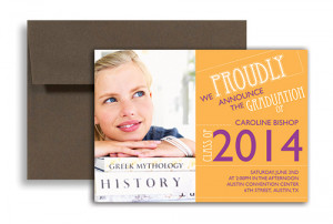 2015 Girl 8th Grade Graduation Announcement Sample 7x5 in. Horizontal