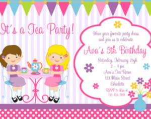 Tea Party Birthday Invitation -- princess tea - dress up - Tea Party ...