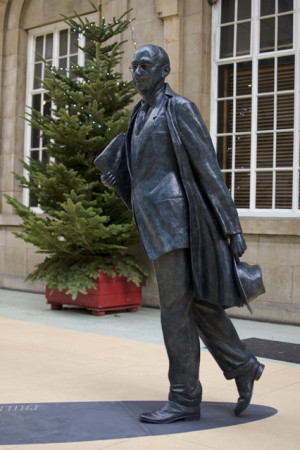Philip Larkin statue, Hull, England.