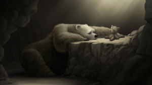Sad polar bear wallpaper