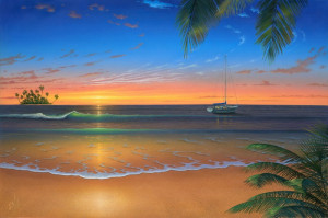 romantic beach wall mural is part of beach scene with tropical wall ...