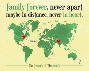 ... Away, Family Quote, Military, Deployment, Moving Away Gift, World Map