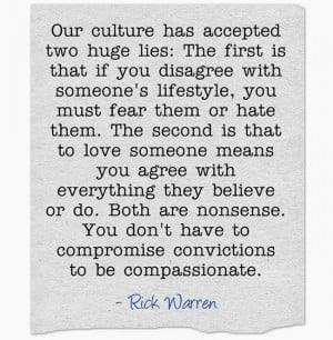 Compromise convictions to be compassionate