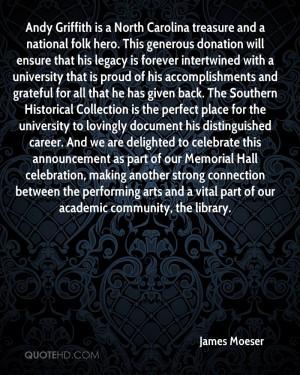 Andy Griffith is a North Carolina treasure and a national folk hero ...