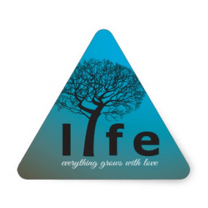 Teal Inspirational Life Tree Quote Triangle Sticker