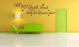 Tinkerbell Faith Trust Pixie Dust Wall Quote Decal Kids Room Sticker ...