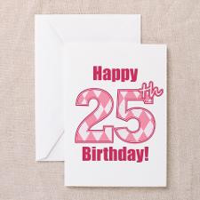 Happy 25th Birthday - Pink Argyle Greeting Cards ( for