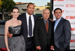 ... Hathaway, Steve Carell and Dwayne Johnson at event of Get Smart (2008