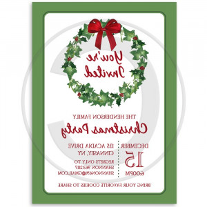 Holiday Christmas Wreath Party Invitation