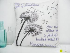 Dandelion Wishes Medium Moms Friends Inspirational Quote Pillow