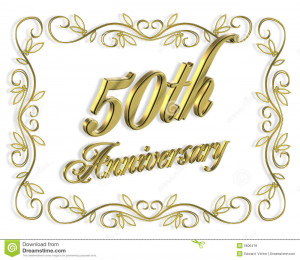 ... design for 50th anniversary background or invitation with golden text
