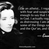 Emma Thompson: I`m an atheist. I regard religion with fear & suspicion