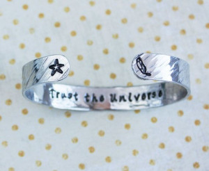 Trust the Universe quote bracelet star and feather by ZennedOut, $29 ...