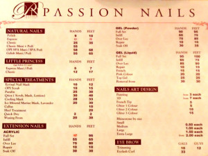 Nail Salon Price List
