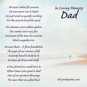 In Loving Memory Cards For Dad – He never looked for praises